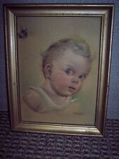 RARE ORIGINAL VINTAGE LITHO PRINT BY FLORENCE KROGER USA--BABY PIC IS RAISED!