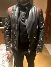allsaints mens leather Biker jacket XS Red & Black 34 Chest