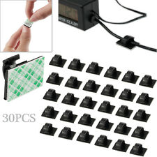 30PCS Mini Car Self Adhesive Wire Cable Clips Rectangle Tie Sticker Cord Holder