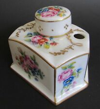 Antique French Porcelain Hand Painted Pink Rose/ Foral Gilded Ink Well