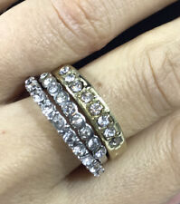 Lot Rhinestone Band Rings Gold Tone Silver tone Textured Fancy Round Cut Stone