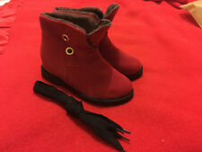 *NEW* Red Suede Fur-Lined Short Lace-Up Winter Boots - Size 7