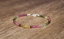 Natural Multi Tourmaline Faceted Gemstone Beaded Bracelet 925 Silver Clasp 7.5''