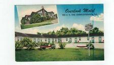VA Charlotesville Virginia antique linen post card Overlook Motel
