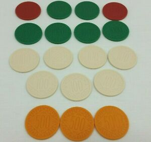 Milton Bradley Last Chance Replacement Chips Lot Pieces White Orange Red Green