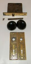 Brass Eastlake Backplates & 2 Black Porcelain Door Knobs with Mortise Lock (4)