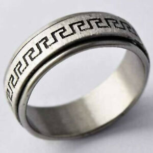 Mens Womens Band Ring Stainless Steel Rings Hip Hop Spinner Rings Jewelry Size 8