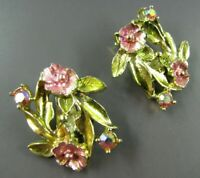 Super Sweet VTG GOLD CLIP-ON EARRINGS Pink & Green ENAMEL & AB RHINESTONE Flower