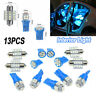 13x Auto Car Interior Blue LED Lights Bulb For Dome License Plate Lamp 5/8/12SMD