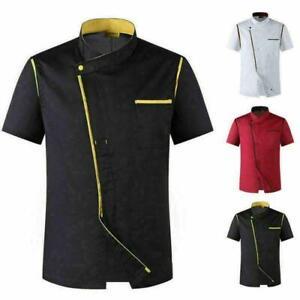Unisex Koch servieren Kurzarm Kochjacke Hotel Uniform Slim Küche Arbeitskleidung