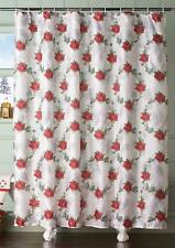 Poinsettia & Holly Fabric Shower Curtain Red & Green on White Holiday Bath Decor