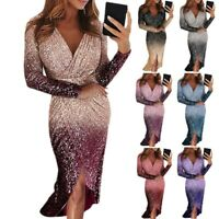 Women Sexy Gradient Maxi Dress V Neck Sequin Long Sleeve Bodycon Ball Gown Dress