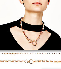 AUTHENTIC ZARA set pack of 2 GOLD METAL CHAIN STATEMENT COLLAR NECKLACE NEW