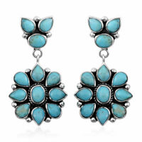 Turquoise 925 Sterling Silver Santa Fe Style Earrings Party Gift Jewelry 6.5 Cts