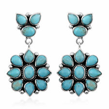 Turquoise 925 Sterling Silver Santa FE Style Earrings Jewelry Gift 6.5 Cttw
