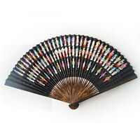 BLACK FAN WITH PAINTED JAPANESE MASK DESIGN