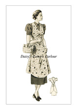 1940 Vintage Sewing Pattern Apron Wartime  26 28 30 VTG Pinnie
