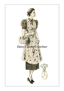 1940 Vintage Sewing Pattern Apron Wartime  26 28 30 VTG Pinnie 1940s 40s
