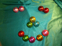 12 alte Christbaumkugeln Glas pastell rosa rot grün Sterne Weihnachtskugeln CBS