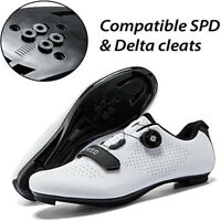 Mens Road Bike Shoes Cycling Look Delta SPD-SL Spin Indoor 3 Straps Riding Shoes