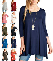 Women Long Tunic Solid Scoop Neck Top 3/4 Sleeve Trapeze Dress Loose Shirt S~XL