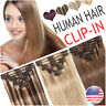 Mix Clip In Russian Real Human Hair 8 Bundles Extensions Weft Straight Brown USA