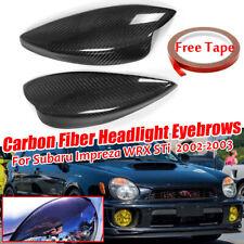 Pair Real Carbon Fiber Headlight Eyebrow Eyelid Cover For Subaru Impreza WRX