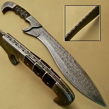 BEAUTIFUL CUSTOM HAND MADE DAMASCUS STEEL HUNTING SWORD KNIFE HANDLE RAM HORN