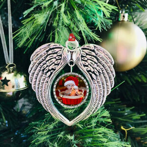 Personalised Photo Christmas Tree Decoration Baubles Angel Wings In Memory Gift