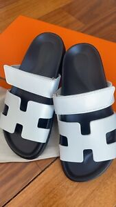 BNIB Hermes Chypre Ankara Oran Dad White Leather Techno Sandals Sold Out 39
