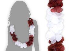 Collier Hawaïen marron blanc fleur pétale ambiance tropique déguisement  HK-32