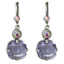 Earrings Silvertone Violet Austrian Crystal Kirks Folly Fairy Twinkle Leverback