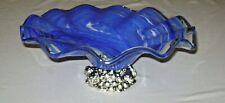 Vintage Cobalt Blue Swirl Art Glass Centerpiece Bowl Cast Metal Fruit Base