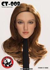 "Cat Toys 1/6th Asian Female Long Curly Hair Head Sculpt F12"" Figure Model Gift"