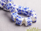 20pcs 10mm Blue Cube Square Flowers Ceramic Porcelain Big Hole Loose Beads
