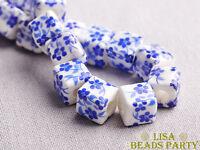 20pcs 10mm Blue Cube Square Flowers Ceramic Porcelain Big Hole Loose Beads