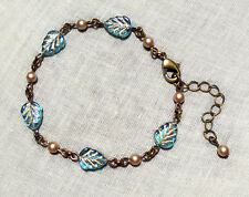 BRASS GLASS AQUA GOLD LEAF ALMOND SAND PEARL BRACELET BOHO MERMAID DECO BEACH