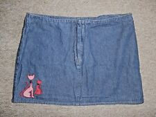 TOPSHOP Blue Denim MINI SKIRT~Embroidered Cats~UK 12~Excellent Condition