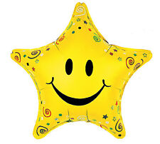 """Star Shaped Smiley Face Small Swirls and Star Multi-Color 22"""" Balloons 3 Pack"""