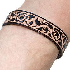 Black Leather Boho Bracelet Wristband Bangle Mens Womens Ladies Boys Girls Kids