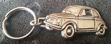 Fiat 500 Schlüsselanhänger Keyring silbern relief - Maße Fahrzeug 43x27mm