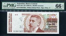 Argentina 1990-1991, 100,000 Australes, 100000 ,P336,PMG 66 EPQ GEM UNC