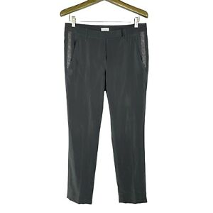 BRUNELLO CUCINELLI Gray Silk Monili Beaded Straight Leg Ankle Pants Sz 42 US 6
