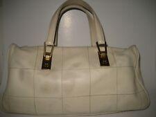 CHANEL Square Stitch Bowler Cream Caviar Leather Gold CC HW Baguette Bag Handbag