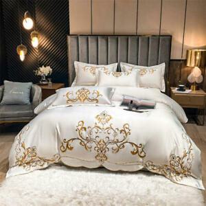 4pcs bedding set Pure cotton satin silk quilt cover flat sheet set embroidered