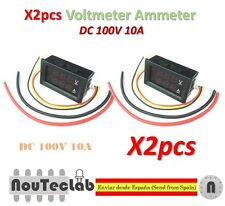 2pcs DC 100V 10A Voltmeter Ammeter Blue + Red LED Amp Dual Digital Volt Meter