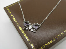 Stunning 9ct White Gold Butterfly Necklace with Amethyst detailing