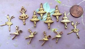 Vintage Brass and Gold Tone Metal Ballerina Charms Mix 12