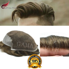 French Lace Human Hair Men Toupee Front Bleached Knots Hand-Tie Wig Hairpiece Q6