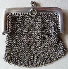 Bourse aumônière cote de maille en ARGENT massif 19e siècle silver bag